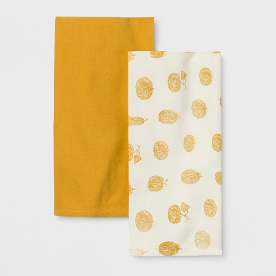 2pk Pumpkin Kitchen Towel Cream/Yellow - Threshold™