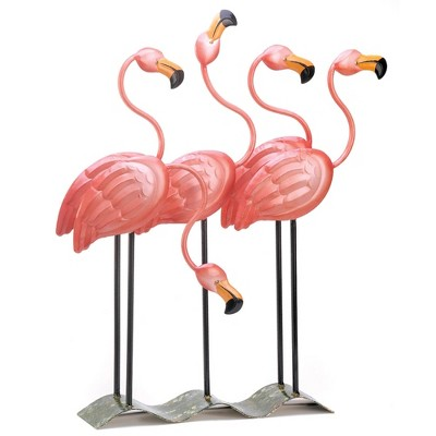 """23.5"""" Metal Flock of Flamingos Décor Statue Coral Pink - Zingz & Thingz"""