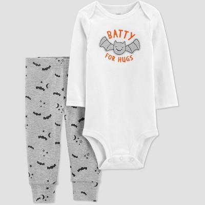 Baby Boys' 'Batty For Hugs' Top and Bottom Set - Just One You® made by carter's White/Gray 9M