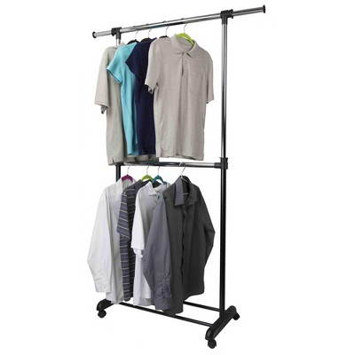 Home Basics 2 Tier Expandable Garment Rack, Black