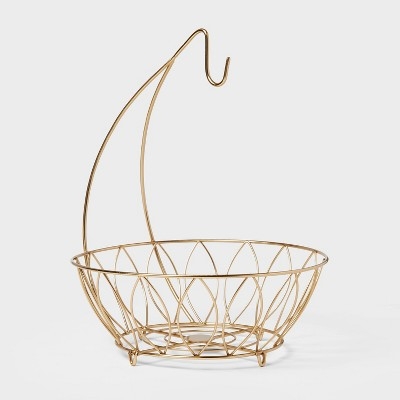 Iron Wire Fruit Basket with Banana Hanger Gold - Threshold™