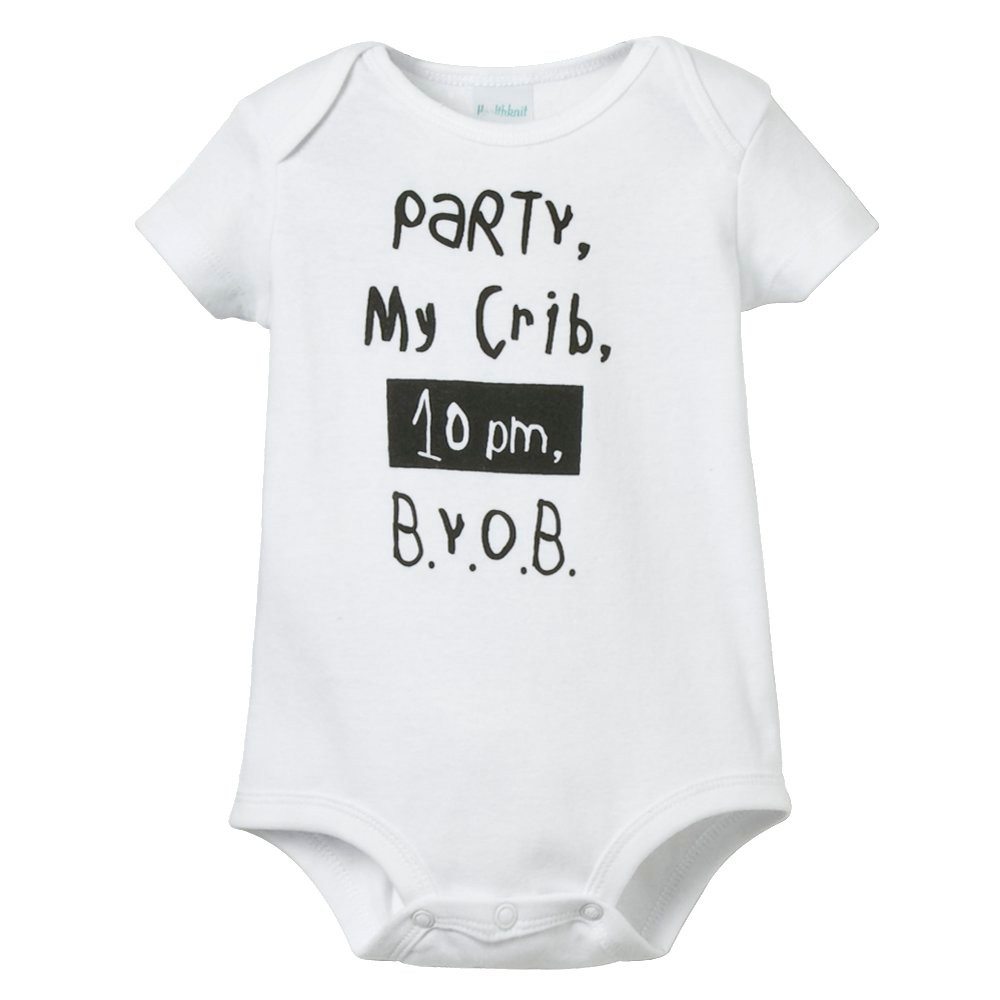 L.A. Baby 'Party in My Crib' Bodysuit White - 6M, Infant Unisex
