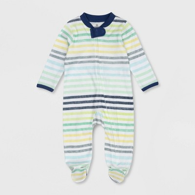 Honest Baby Boys' Organic Cotton Rainbow Striped Sleep N' Play - Blue 0-3M