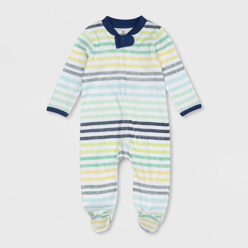 Honest Baby Boys 39 Organic Cotton Rainbow Striped Sleep N 39 Play Blue 6 9m