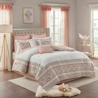 Corella Queen 8pc Cotton Printed Clip Jacquard Comforter Set Dusty Rose/White