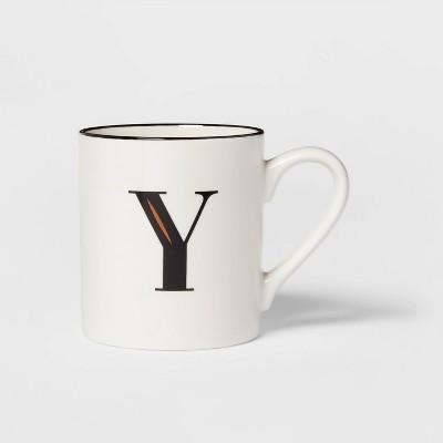 16oz Stoneware Monogram Mug Y White - Threshold™