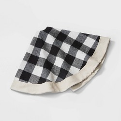 "48"" Buffalo Plaid Christmas Tree Skirt Black and Ivory - Wondershop™"