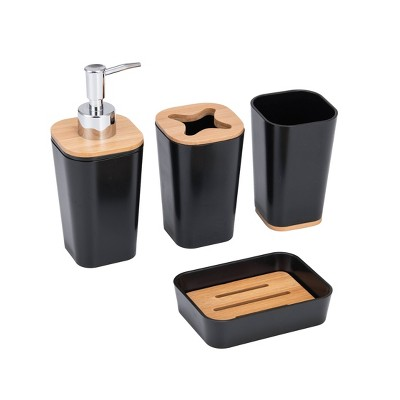 4pc Plastic/Bamboo Bathroom Set Black - KRALIX