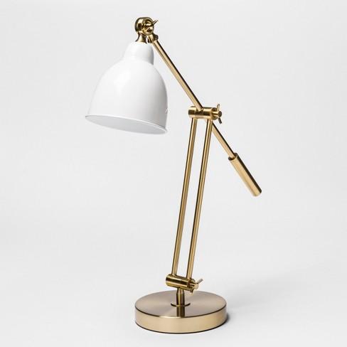 "22"" x 7"" Metal Task Table Lamp Gold/White - Threshold™ - image 1 of 3"