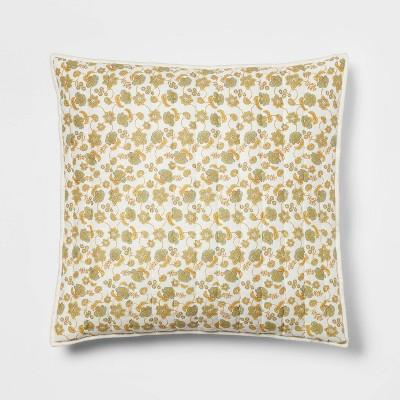 Pick Stitch Floral Quilt Sham Green/Yellow - Threshold™
