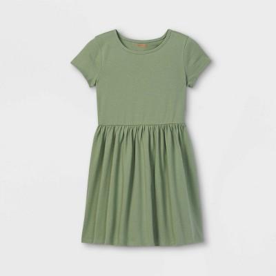 Girls' Solid Knit Short Sleeve Dress - Cat & Jack™