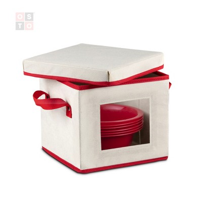 OSTO Holiday Dinnerware Storage Box with Lid; Saucer/Soup Plate Box with Cardboard Insert Has Clear Window, Handgrips, & Lid, Color Ivory and Red