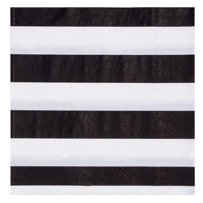 "Blue Panda 150-Pack Disposable Paper Napkin 6.5"" Kids Birthday Party Supplies Black White Striped"