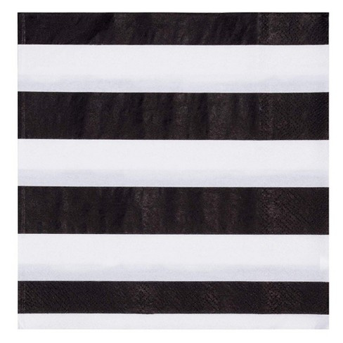 """Blue Panda 150-Pack Disposable Paper Napkin 6.5"""" Kids Birthday Party Supplies Black White Striped - image 1 of 3"""