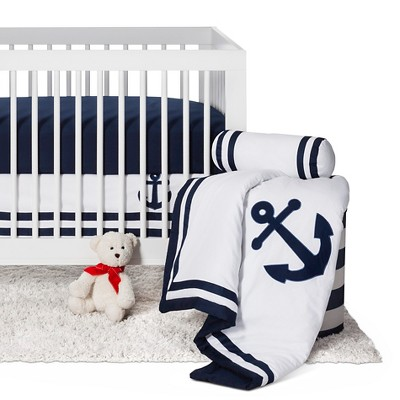 Sweet Jojo Designs Anchors Away 11pc Crib Bedding Set - Navy