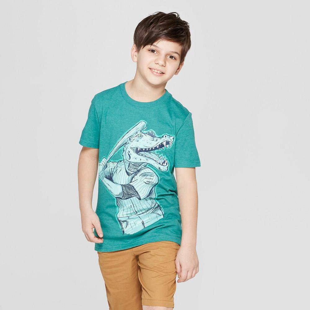 Boys' Alligator Baseball Short Sleeve Graphic T-Shirt - Cat & Jack Green M, Beige