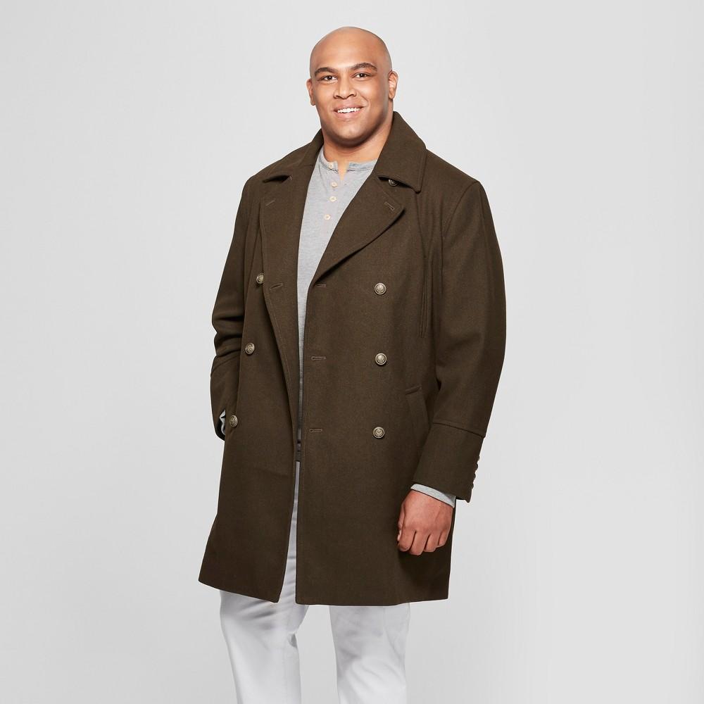Men's Big & Tall Wool Blend Trench Coat - Goodfellow & Co Dark Green 4XBT