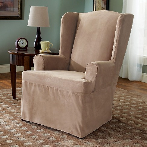 Suede Slipcover Wing Chair Sure Fit