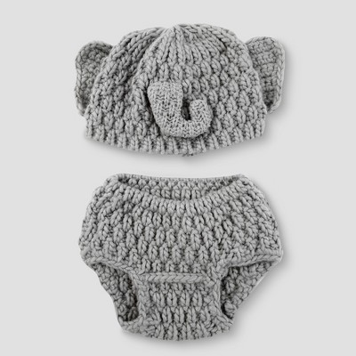 Baby Elephant Hat & Diaper Cover Set - Cloud Island™ Gray