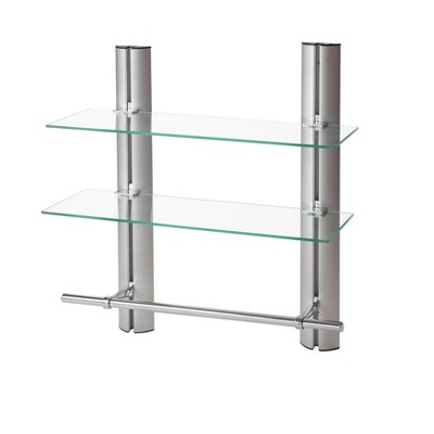 "7"" x 20"" 2 Tier Adjustable Glass Shelf with Towel Bar Wall Shelf - Danya B."