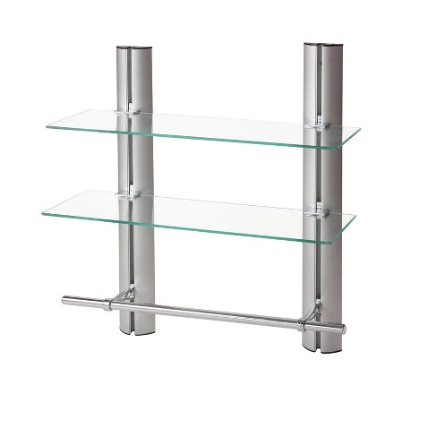 "7"" x 20"" 2 Tier Adjustable Glass Shelf with Towel Bar Wall Shelf - Danya B. - image 1 of 4"