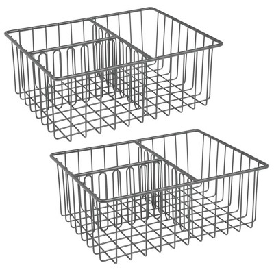 mDesign Metal Kitchen Organizer Bin for Container Lids, 2 Pack