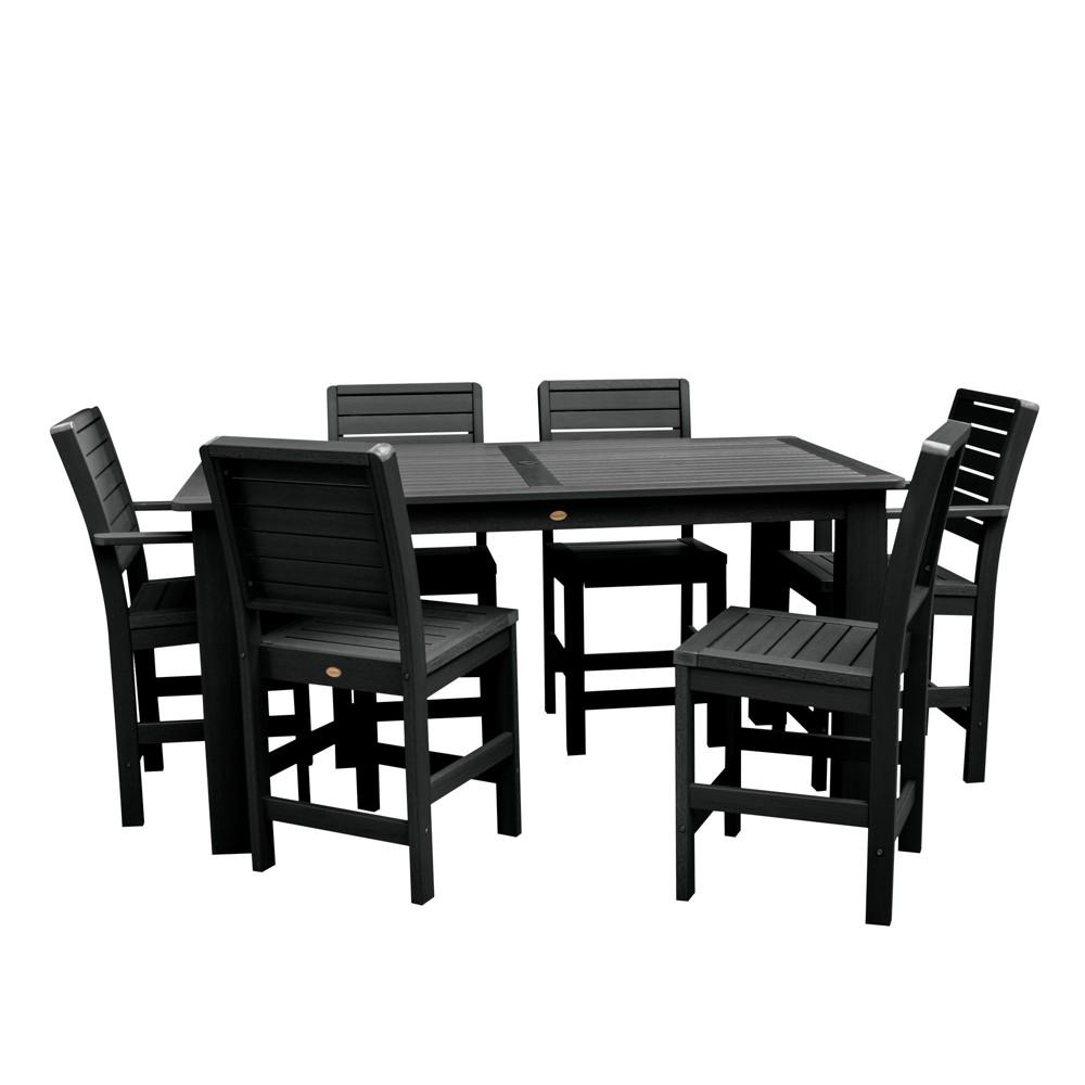 """Image of """"7pc Weatherly 72"""""""" Rectangular Counter Patio Dining Set Black - highwood"""""""