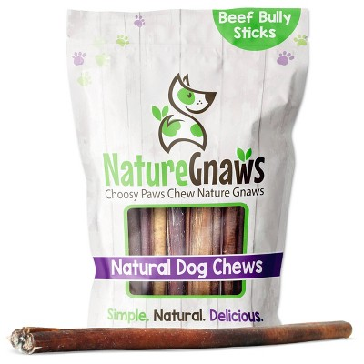 "Nature Gnaws Beef Bully Sticks 11-12"" Dog Treats - 8oz"