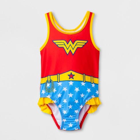 Toddler Girls Dc Comics Wonder Woman One Piece Swimsuit Red Target