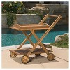 Riviera Acacia Wood Patio Bar Cart With Tray - Natural - Christopher Knight Home - image 3 of 4