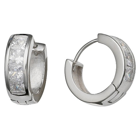 Women's Huggie Hoop Earrings in Sterling Silver with Clear Cubic Zirconia Stones - image 1 of 1