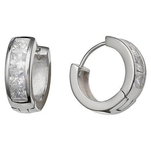 Women S Huggie Hoop Earrings In Sterling Silver With Clear Cubic Zirconia Stones