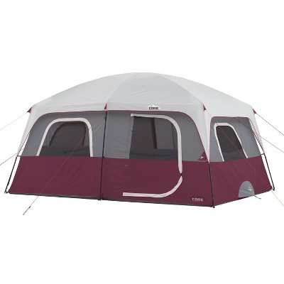 CORE Straight Wall 14 x 10 Foot 10 Person Cabin Tent with 2 Rooms & Rainfly, Red