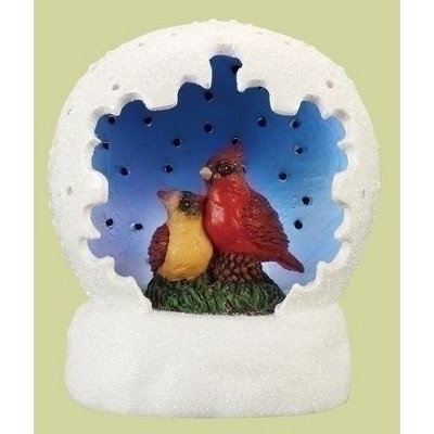 """Roman 4"""" White and Blue LED Lighted Cardinal Pair Christmas Tabletop Dome"""