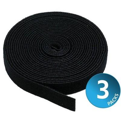 Monoprice 3-Pack Hook & Loop Fastening Tape 5 yard/roll, 0.75in, Black