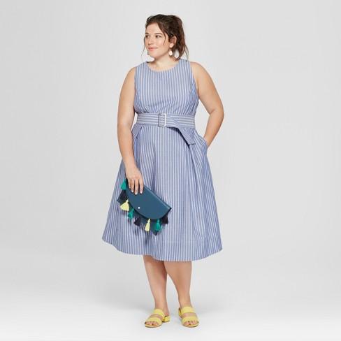 a12662a0f47 Women s Plus Size Striped Belted Waist Sundress - Ava   Viv™ Blue White