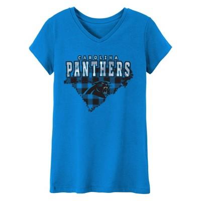 NFL Carolina Panthers Girls' Short Sleeve V-Neck Core T-Shirt