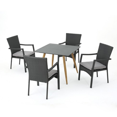 Bishop 5pc Wicker Dining Set  - Dark Gray - Christopher Knight Home - image 1 of 4