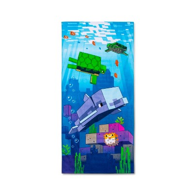 Swimming Around Beach Towel Blue - Minecraft