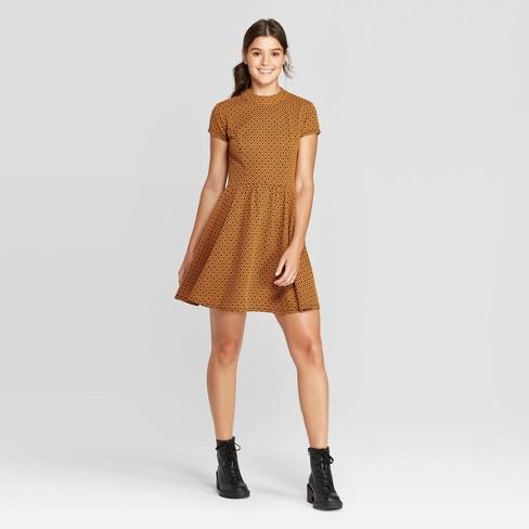 Women's Short Sleeve Mock Turtleneck Knit Mini Dress - Xhilaration™ Mustard - image 1 of 2