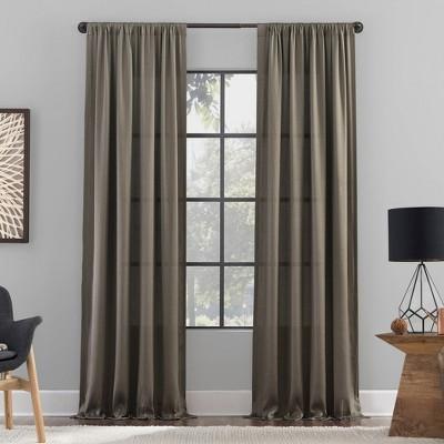 Raw Texture Recycled Fiber Semi-Sheer Curtain Panel - Clean Window