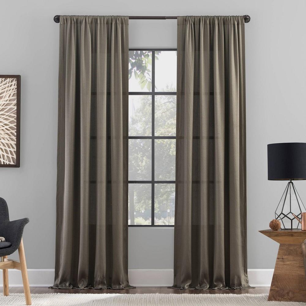 84 34 X50 34 Raw Texture Recycled Fiber Semi Sheer Curtain Panel Mocha Clean Window