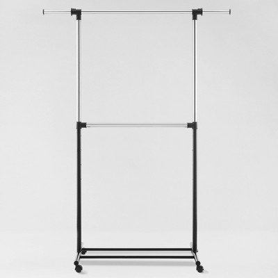 Metal Base Adjustable Double Rod Garment Rack Black - Room Essentials™
