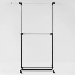 Metal Base Adjustable Double Rod Garment Rack Black - Room Essentials™
