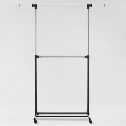 Metal Base Adjustable Double Rod Garment Rack Black - Room Essentials™ - image 1 of 3