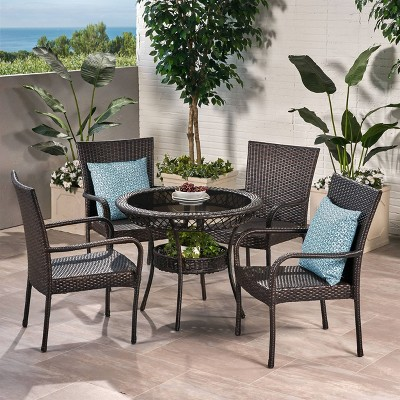 Littleton 5pc Wicker Patio Dining Set - Brown - Christopher Knight Home