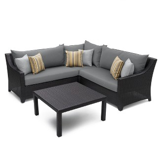 RST Brands Deco 4-piece Sectional and Table Set - Charcoal Gray