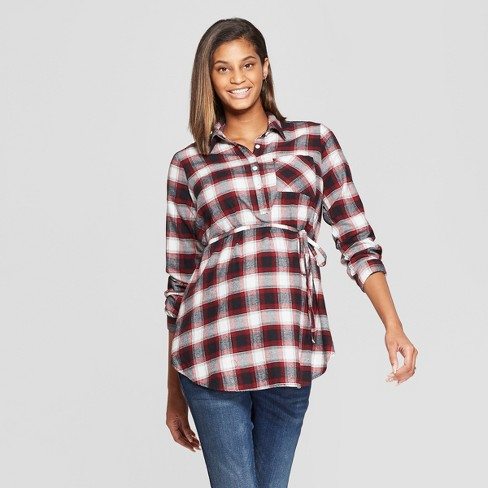 2a7f8f371e2a0 Maternity Long Sleeve Plaid Flannel Popover Tunic - Isabel Maternity by  Ingrid & Isabel™ Black