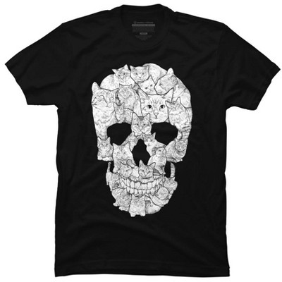 Sketchy Cat Skull Mens Graphic T-Shirt - Design By Humans