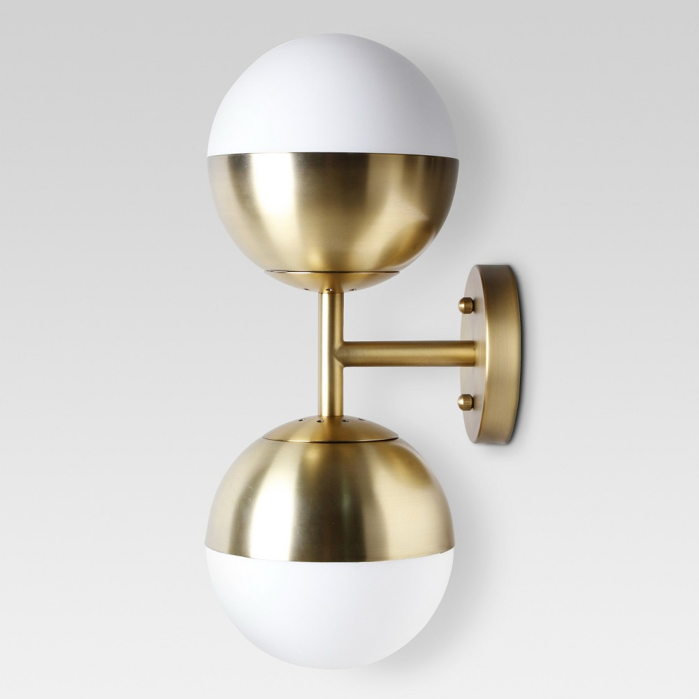 Glass Globe Double Sconce Wall Light Brass Includes Energy Efficient Light Bulb - Project 62, Gold